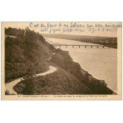 carte postale ancienne 49 CHAMPTOCEAUX. Route et Pont 1937