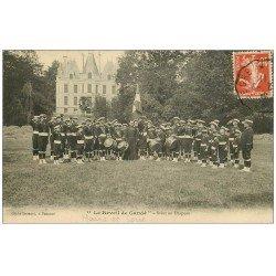 """carte postale ancienne 49 CHANDE. Fanfare """""""" Le Réveil """""""" Salut au Drapeau 1911"""