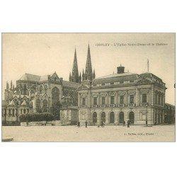 carte postale ancienne 49 CHOLET. Eglise Notre-Dame et Théâtre 1924