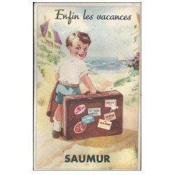 carte postale ancienne 49 SAUMUR. Carte à système. Mini-vues dépliables dans la valise