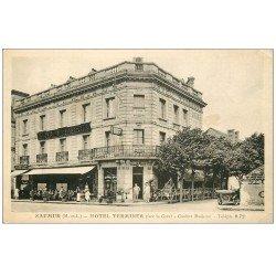 carte postale ancienne 49 SAUMUR. Hôtel Terminus Café Restaurant et voiture ancienne
