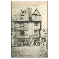 carte postale ancienne 49 SAUMUR. Montée du Port 1908 commerces