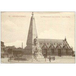 carte postale ancienne 59 ARMENTIERES. Les Halles et Monument aux Morts
