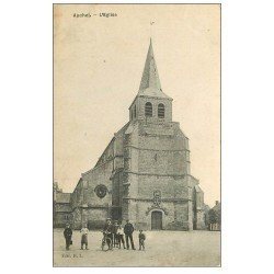 carte postale ancienne 59 AUCHEL. L'Eglise 1910 animation