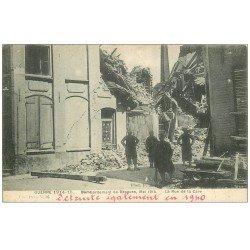 carte postale ancienne 59 BERGUES. Rue de la Gare bombardée
