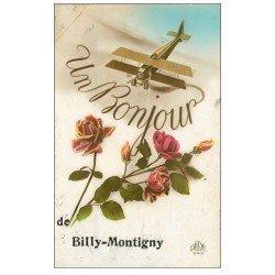 carte postale ancienne 59 BILLY-MONTIGNY. Fantaisie avec Avion 1929