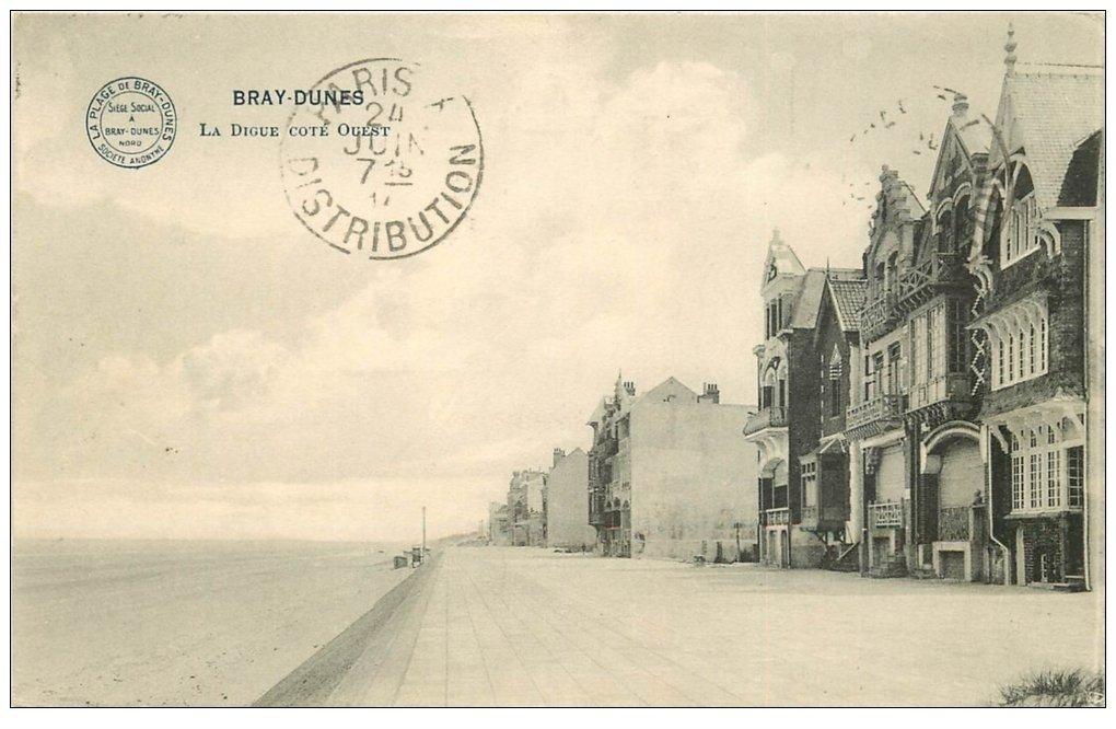 carte postale ancienne 59 BRAY-DUNES. La Digue 1914