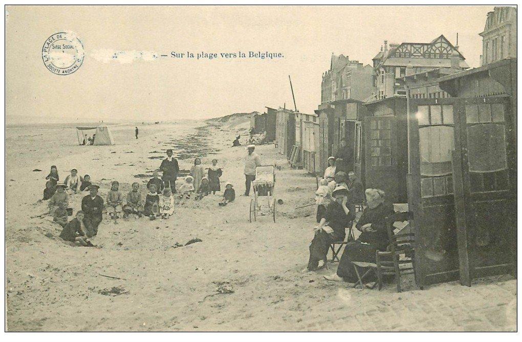 carte postale ancienne 59 BRAY-DUNES. Sur la Plage vers la Belgique 1915