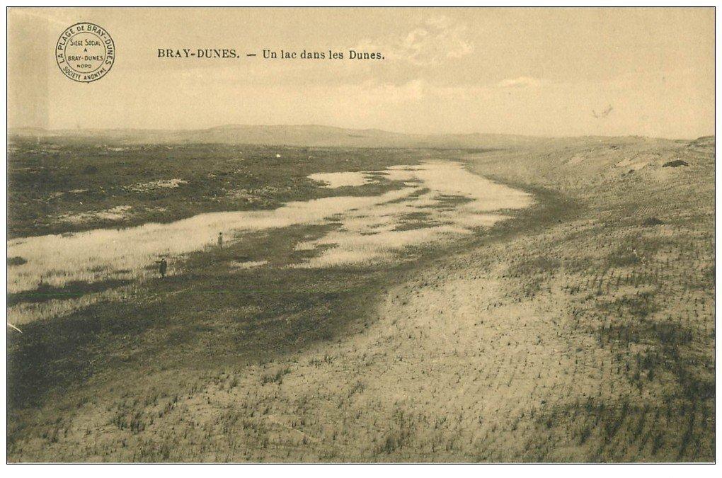 carte postale ancienne 59 BRAY-DUNES. Un Lac dans les Dunes 1915