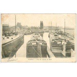 carte postale ancienne 59 CAMBRAI. Péniches dans le Port vue du Canal 1903