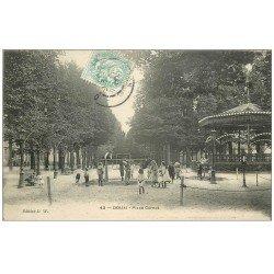 carte postale ancienne 59 DOUAI. Kiosque Place Carnot avec jeux d'Enfants 1906