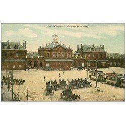 59 DUNKERQUE. Lot 5 Cpa. Place et Gare, Choeur Eglise, Bateau de Pêche, Petite Chapelle Notre-Dame des Dunes