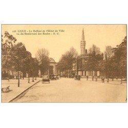 carte postale ancienne 59 LILLE. Beffroi Hôtel de Ville Boulevard des Ecoles