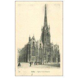 carte postale ancienne 59 LILLE. Eglise Saint-Maurice 1904 animation