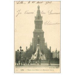carte postale ancienne 59 LILLE. Eglise Saint-Michel et Monument Pasteur 1903 animation