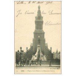 carte postale ancienne 59 LILLE. Eglise Saint-Michel et Monument Pasteur 1903 animation