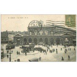 carte postale ancienne 59 LILLE. La Gare 1920 Hôtel Buffet Terminus