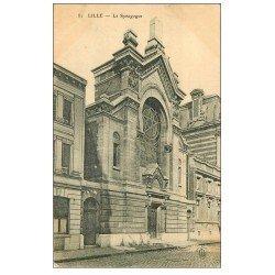 carte postale ancienne 59 LILLE. La Synagogue 1907