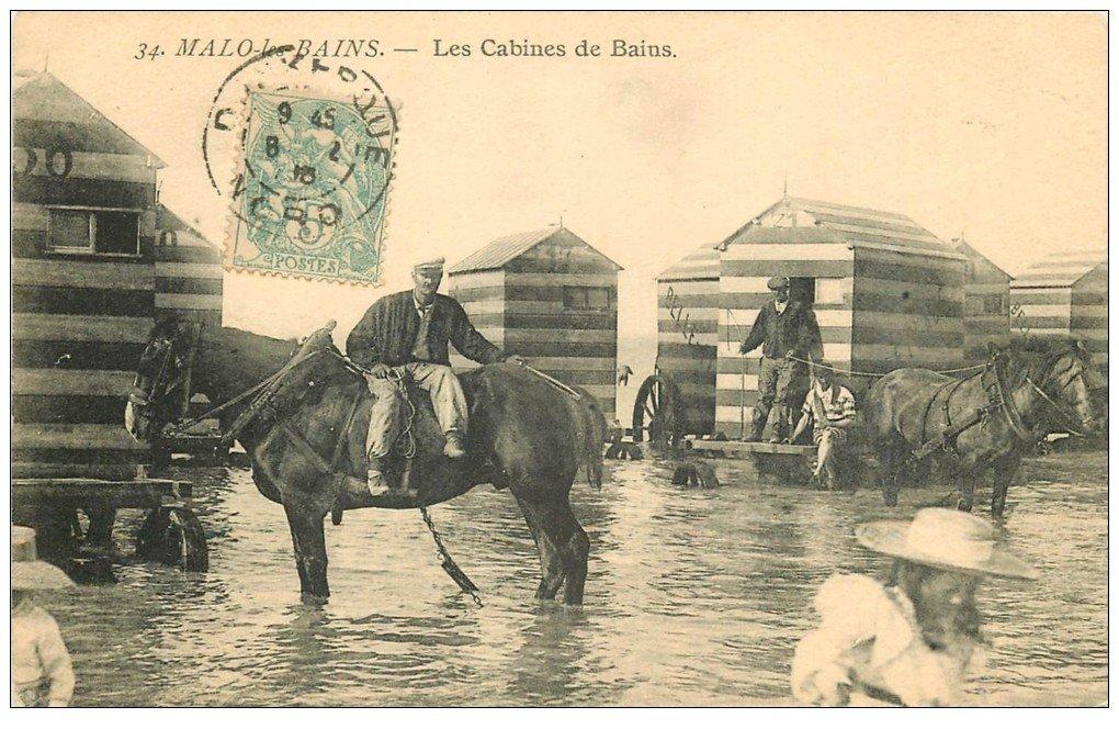 carte postale ancienne 59 MALO-LES-BAINS. Les Cabines de Bains tirées par des Chevaux 1905. Métiers de la Mer