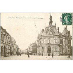 carte postale ancienne 02 CHAUNY. Hôtel de Ville rue du Pont Royal 1907