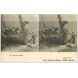 59 NORD. Préparatifs de Départ pour la Pêche. Barque et Pêcheurs. Métiers de la Mer. Vues Stéréoscopiques Damoy