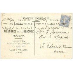 carte postale ancienne 59 ROUBAIX. Carte Réponse Filatures de la Redoute 1930