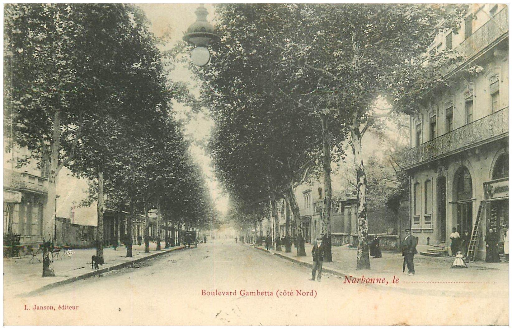 carte postale ancienne 11 NARBONNE. Boulevard Gambetta 1905