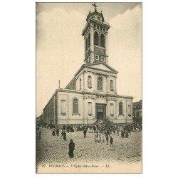 carte postale ancienne 59 ROUBAIX. Eglise Notre-Dame sortie de Messe