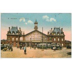 "carte postale ancienne 59 ROUBAIX. La Gare 1935. Tramway """" Bijoux Fix """""