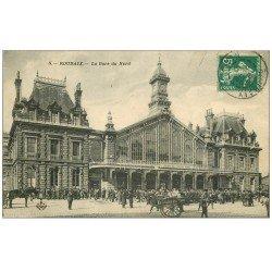 carte postale ancienne 59 ROUBAIX. La Gare du Nord 1910