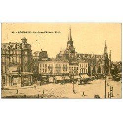 carte postale ancienne 59 ROUBAIX. La Grand Place Café Belle Vue et Hôtel de France