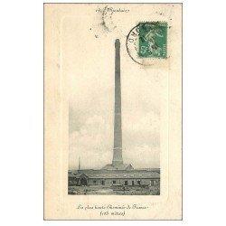 carte postale ancienne 59 ROUBAIX. Usine, la plus haute Cheminée de France en 1912