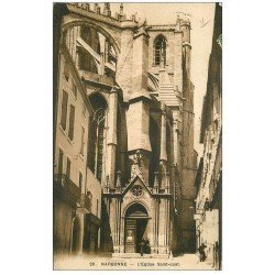 carte postale ancienne 11 NARBONNE. Eglise Saint-Just 1913