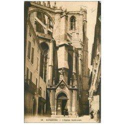 carte postale ancienne 11 NARBONNE. Eglise Saint-Just 1913