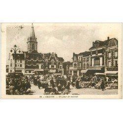 carte postale ancienne 02 CHAUNY. Jour de Marché 1936