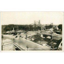 carte postale ancienne 11 NARBONNE. Les 3 Ponts 1940. Carte Photo