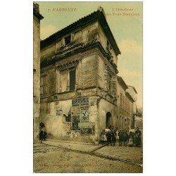 carte postale ancienne 11 NARBONNE. L'Hôtellerie des Trois-Nourrices 1910. Affiche Liqueur Raspail et Pernet-Branca