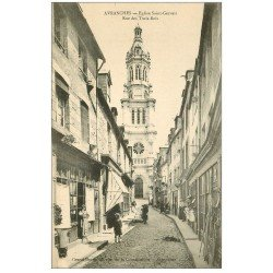 carte postale ancienne 50 AVRANCHES. Eglise Rue des Trois-Rois Epicerie