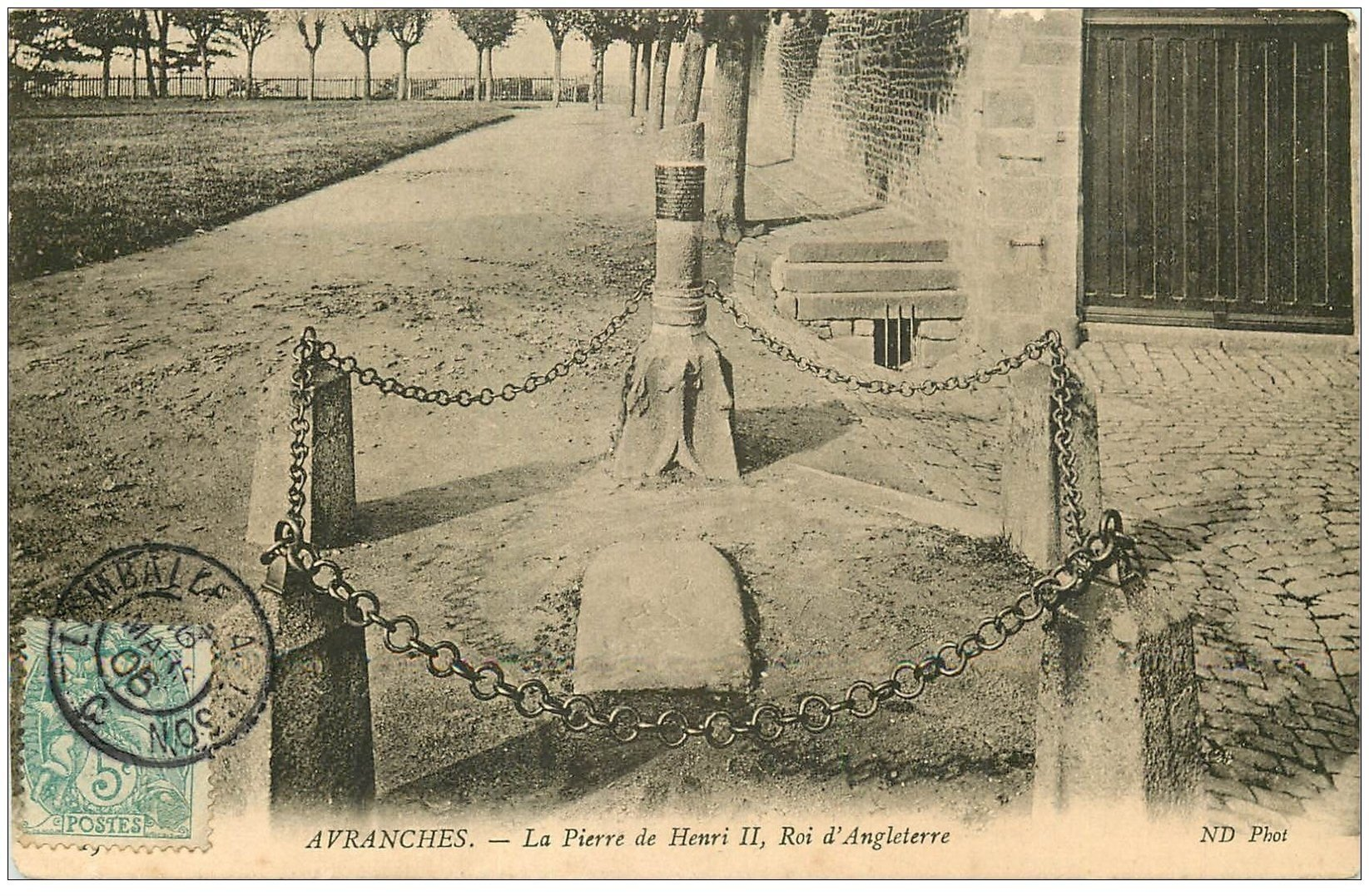 carte postale ancienne 50 AVRANCHES. Pierre Henri II Roi Angleterre 1906