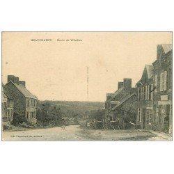 carte postale ancienne 50 BEAUCHAMPS. Route de Villedieu animation