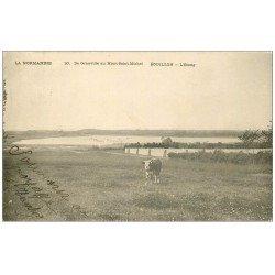 carte postale ancienne 50 BOUILLON. L'Etang avec Vache 1905