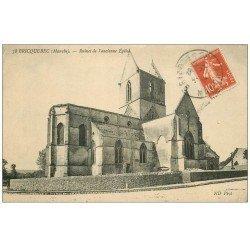 carte postale ancienne 50 BRICQUEBEC. Ruines ancienne Eglise 1914
