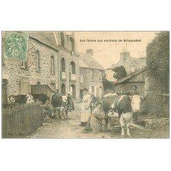 carte postale ancienne 50 BRICQUEBEC. Une Ferme vers 1907 la traite des Vaches