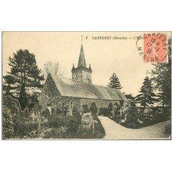 carte postale ancienne 50 CARTERET. Eglise et Cimetière 1931