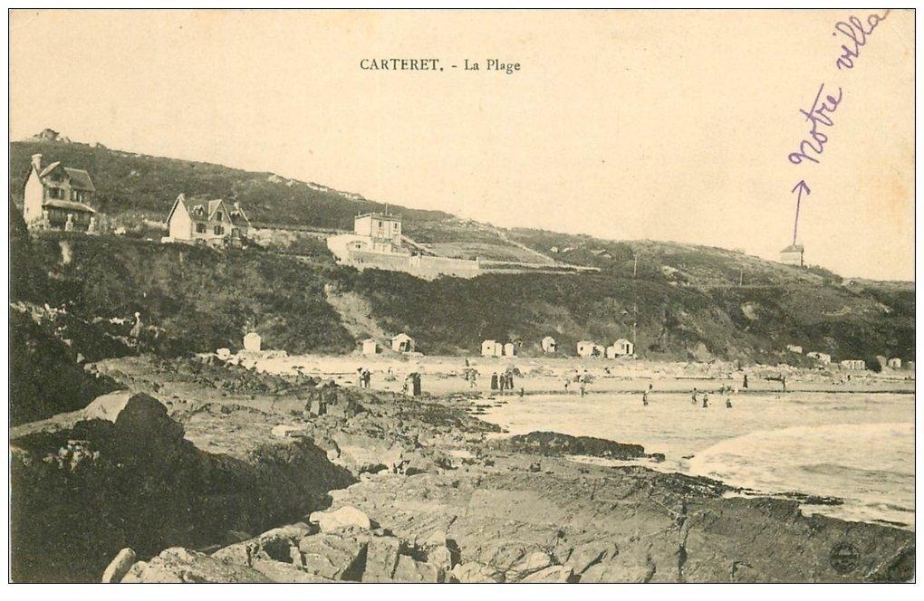 carte postale ancienne 50 CARTERET. La Plage 1912