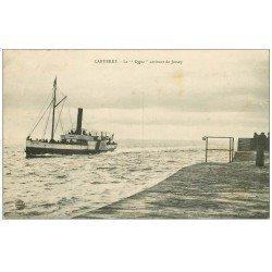 carte postale ancienne 50 CARTERET. Le Bateau Le Cygne arrivant de Jersey 1908