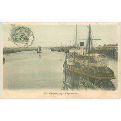 carte postale ancienne 50 CHERBOURG. L'Avant Port Navire Remorqueur Le Cherbourg 1906