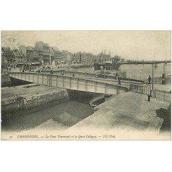 carte postale ancienne 50 CHERBOURG. Le Pont Tournant 1909 Quai Caligny
