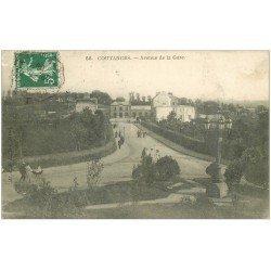 carte postale ancienne 50 COUTANCES. Avenue de la Gare 1909