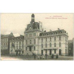 carte postale ancienne 50 COUTANCES. Caisse Epargne et Hôtel de Ville